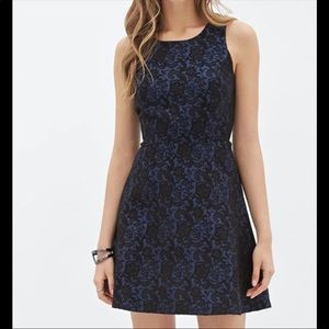 Forever 21 Blue Lace Fit & Flare Dress